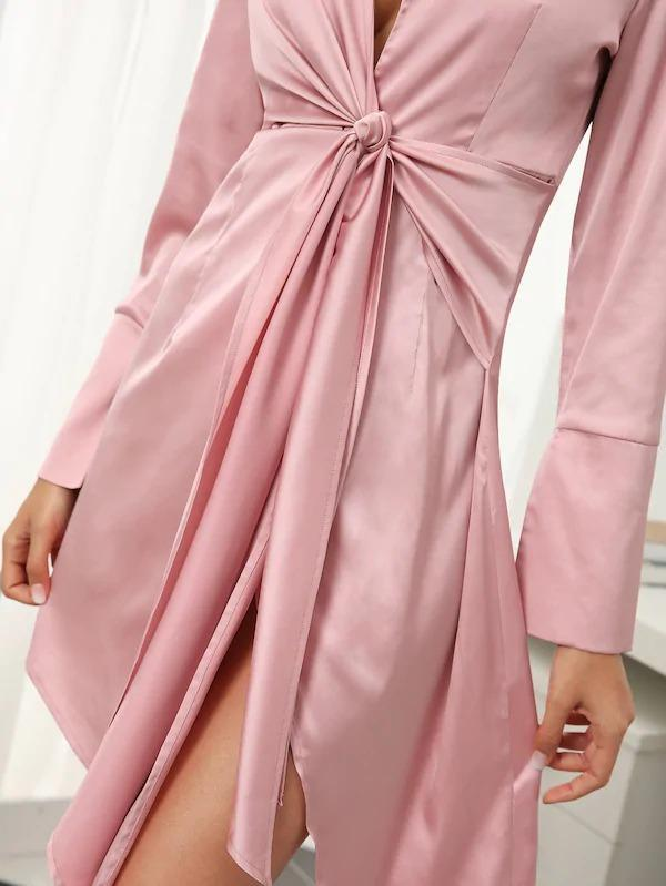 Plunging Neck Split Back Tie Front Satin Dress