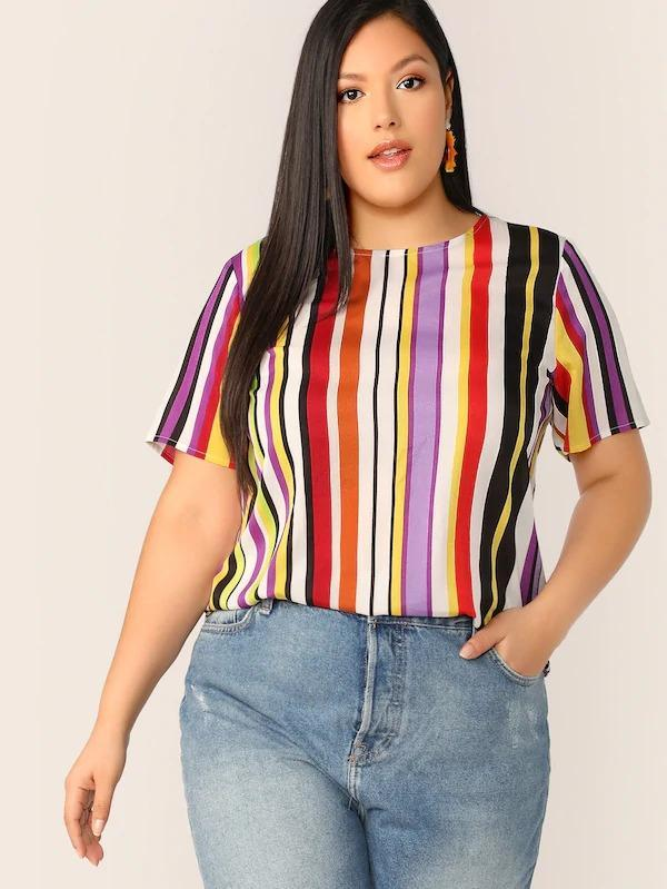 Plus Colorful Striped Print Top