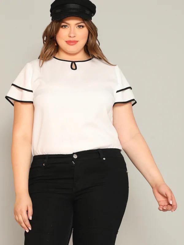 Plus Keyhole Back Layered Cutout Top
