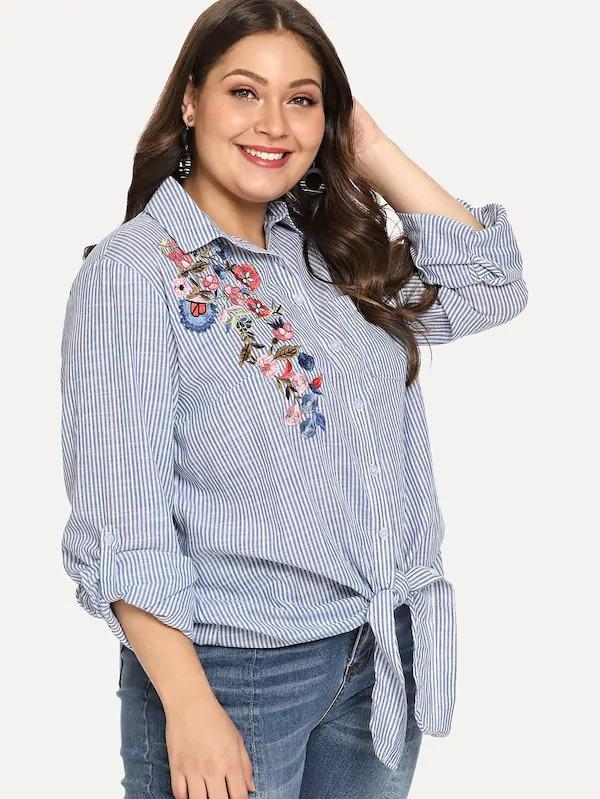 Plus Knot Hem Embroidered Blouse