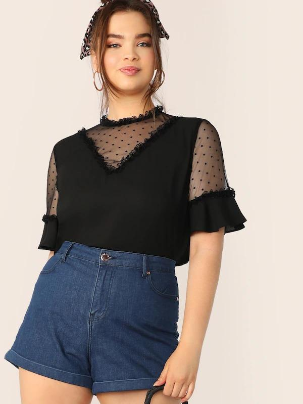 Plus Lace Frill & Mesh Insert Bell Sleeve Top