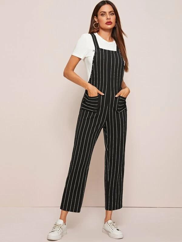 Pocket Front Striped Overall Jumpsuit