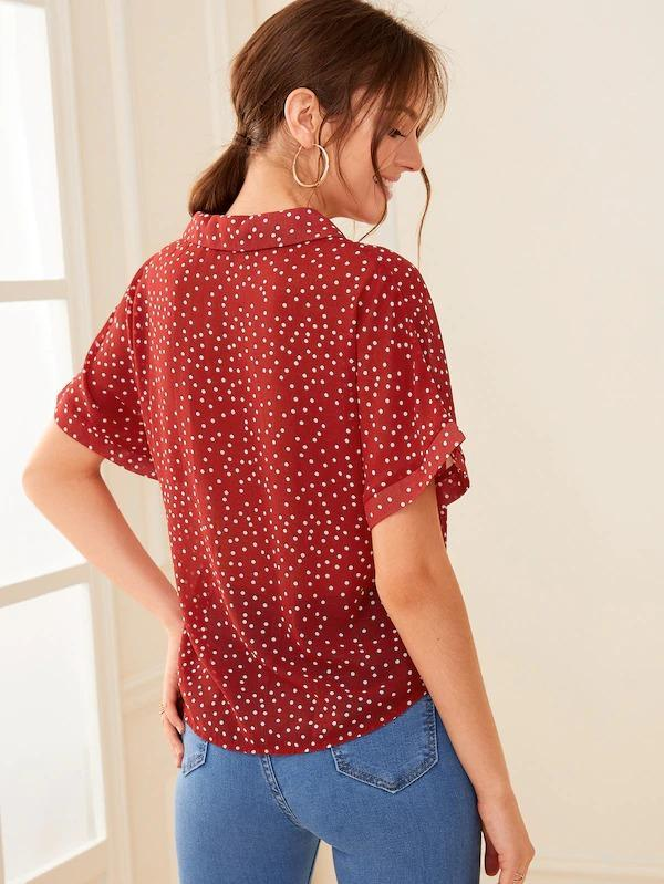Polka-Dot Print Roll Up Sleeve Shirt