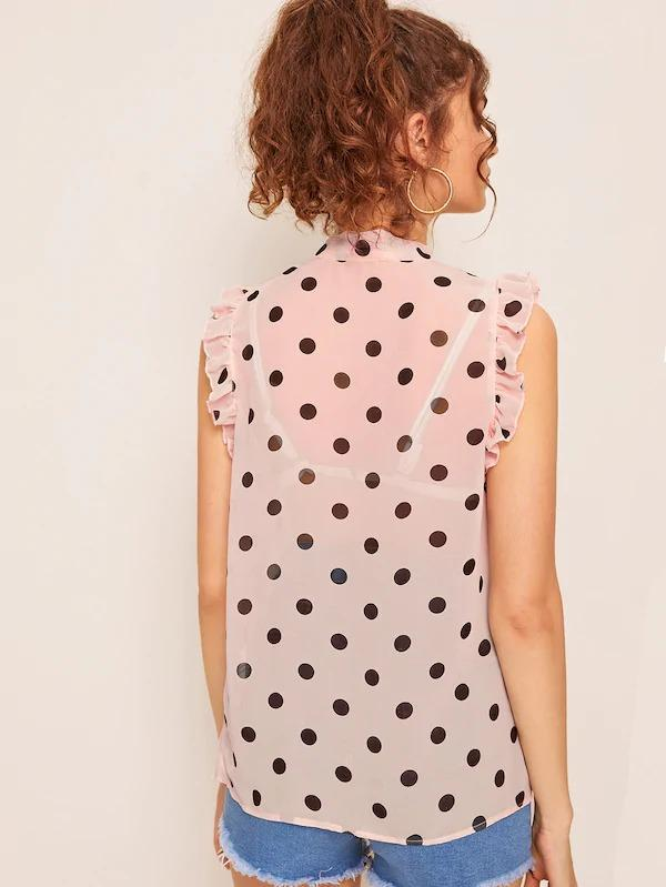 Polka Dot Tied Neck Sheer Blouse