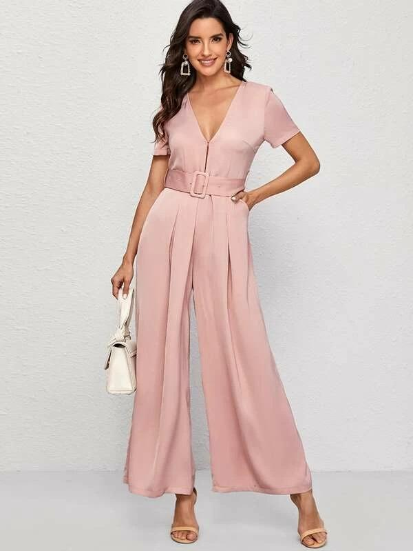 Premium Fold Pleat Wide Leg Jumpsuit With Buckle Belt
