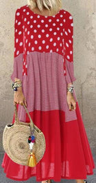 Casual Polka Dots Cotton-Blend Long Sleeve Casualdress