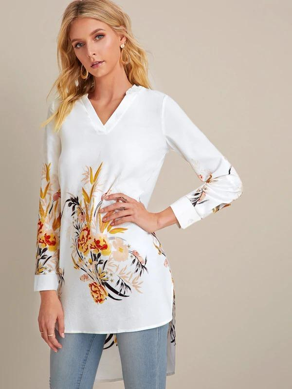 Random Floral Print Notch Neck High Low Blouse