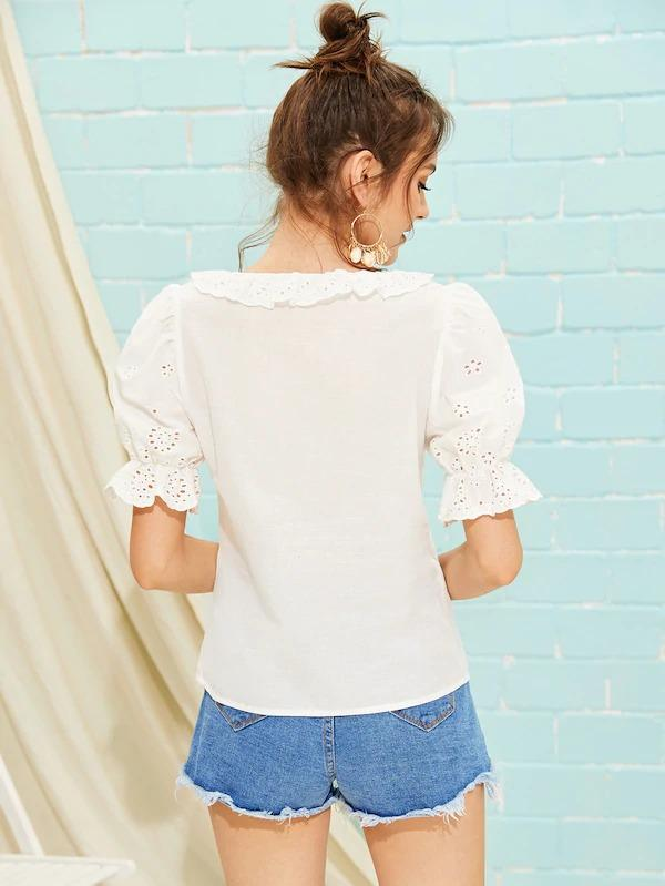 Ruffle Trim Puff Sleeve Embroidery Eyelet Top