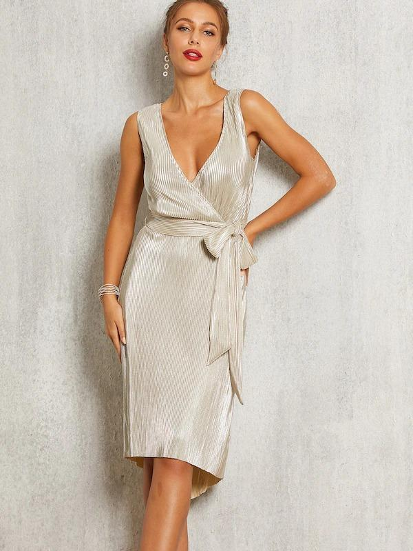 SBetro Wrap Front Belted Pleated Metallic High Low Dress
