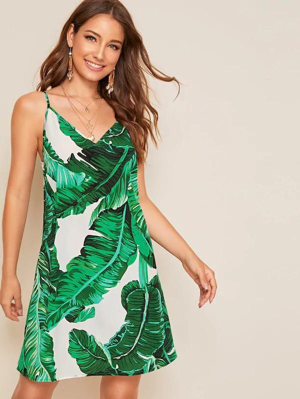 Tropical Print Flowy Slip Dress