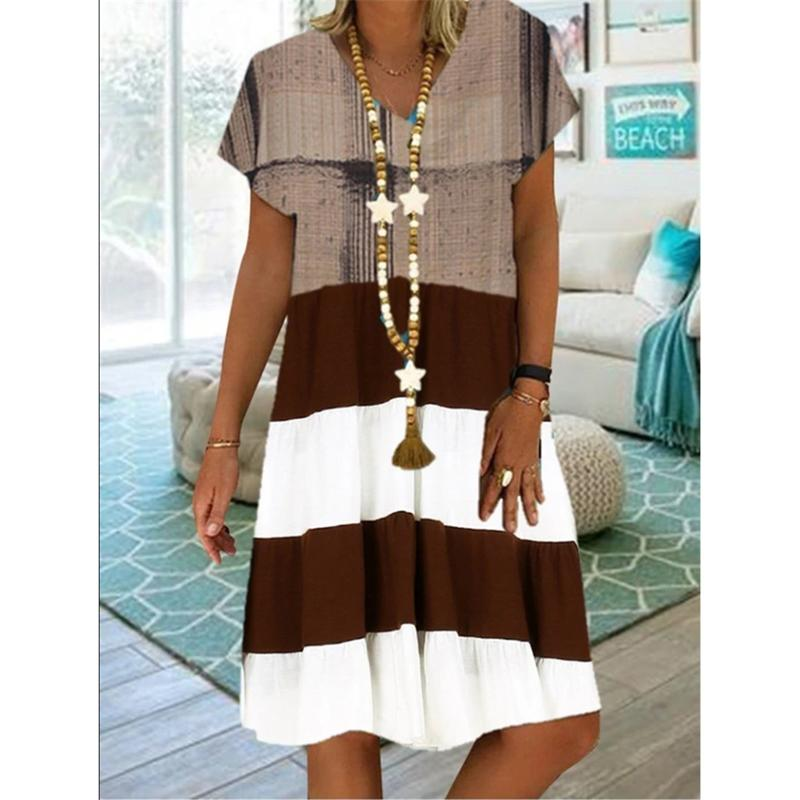 New Printed Multicolor Fashionable Short-sleeved V-neck Skirt