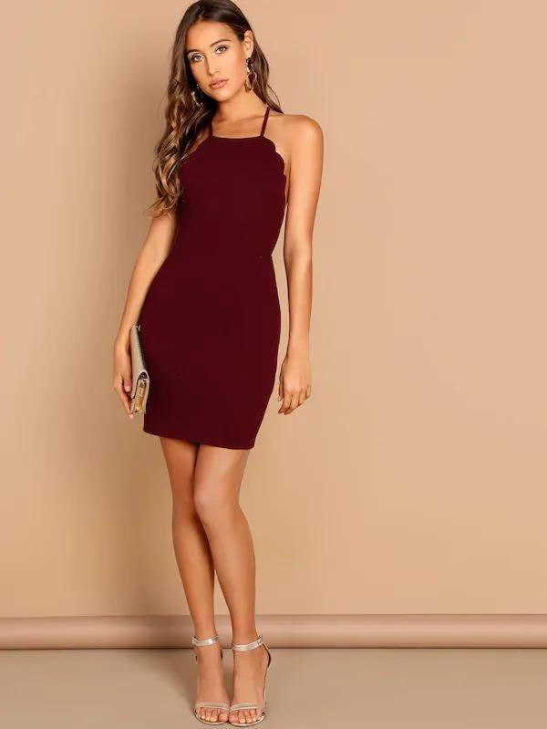 Scallop Trim Crisscross Back Bodycon Dress