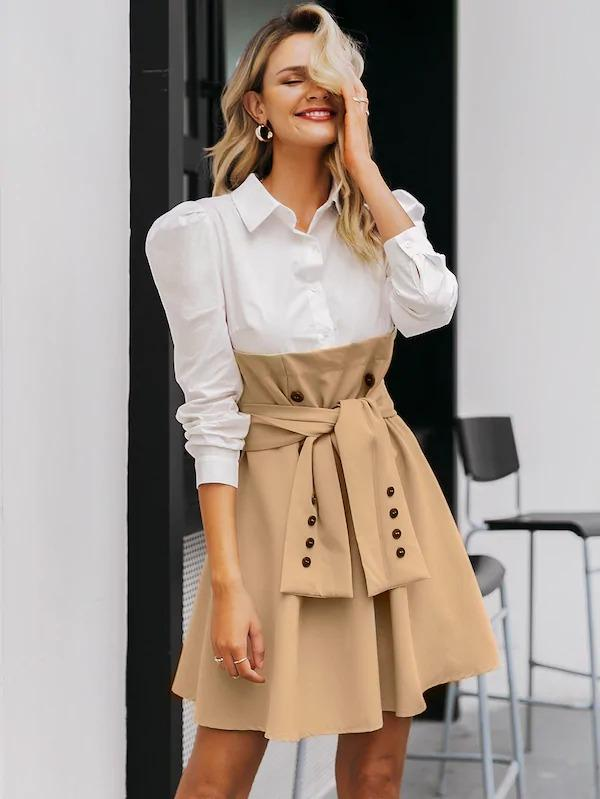 Simplee 2 In 1 Tie Front Button Detail Shirt Dress