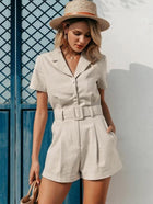 Simplee Lapel Neck Slant Pocket Belted Romper