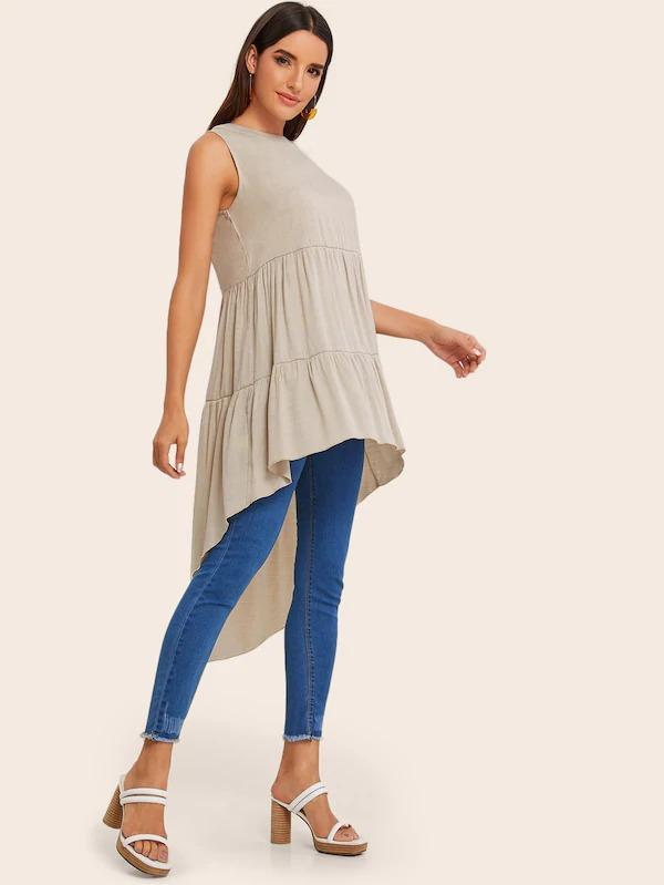 Solid Asymmetrical Hem Sleeveless Blouse