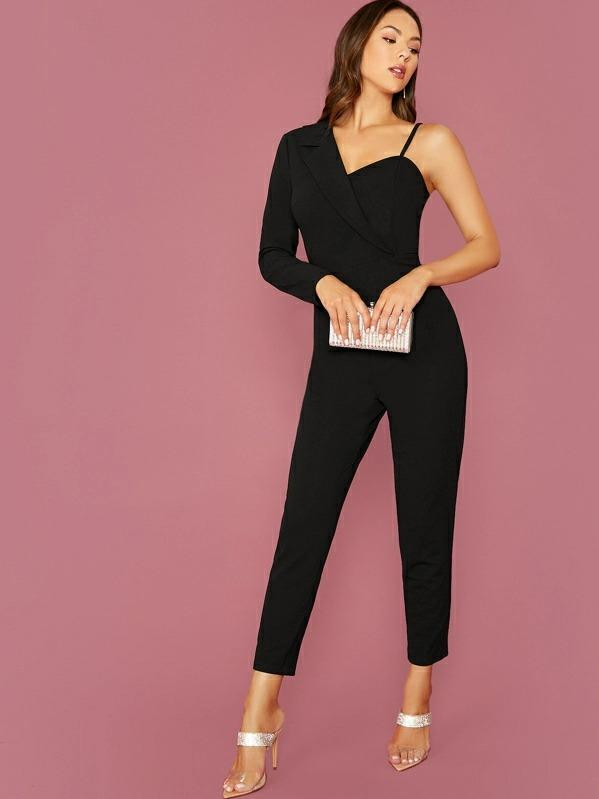 Solid Asymmetrical Neck Jumpsuit