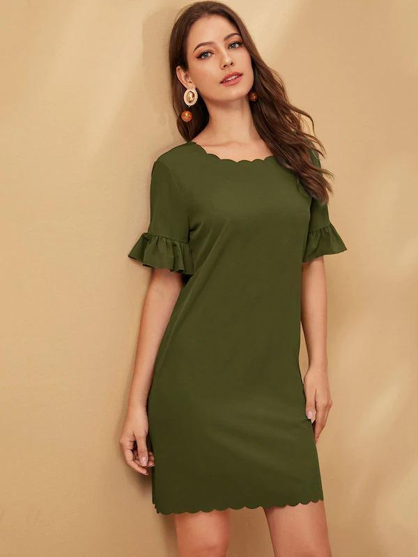 Solid Flounce Sleeve Zipper Back Scallop Dress