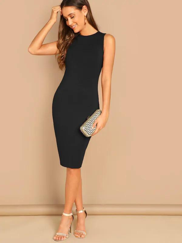 Solid Pencil Midi Dress