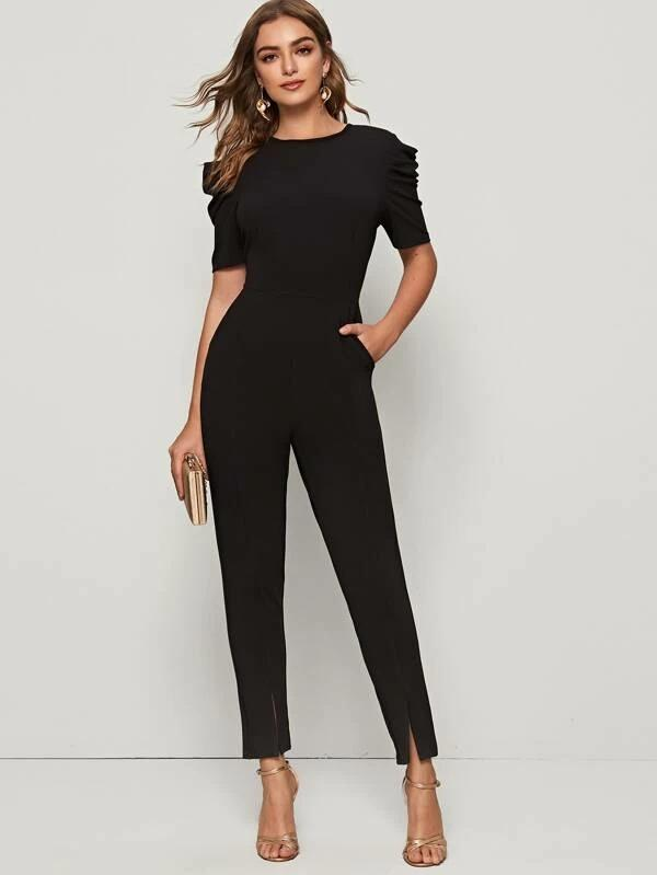 Solid Puff Sleeve Slit Hem Jumpsuit