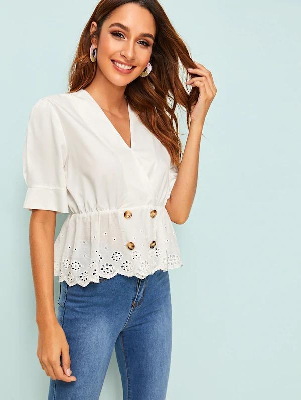 Surplice Eyelet Embroidery Double Breasted Blouse