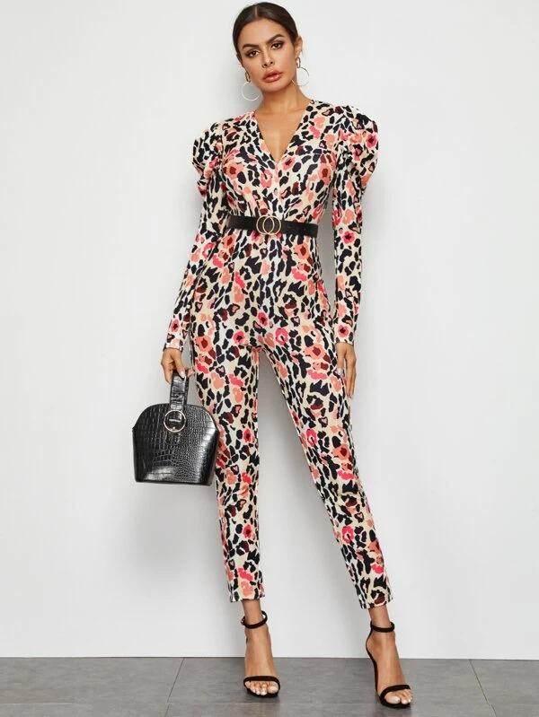 Surplice Neck Gigot Sleeve Allover Print Jumpsuit Without Belt