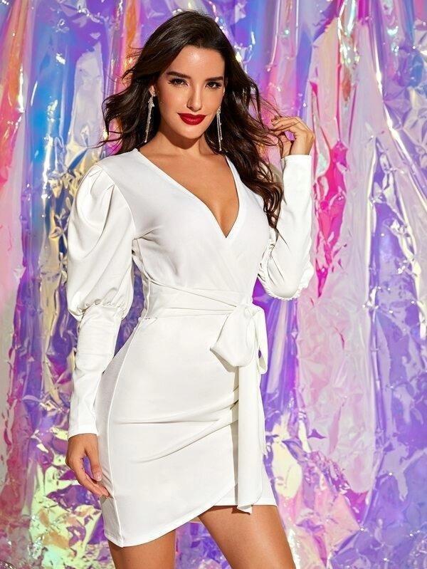 Surplice Neck Leg-Of-Mutton Sleeve Belted Fitted Dress