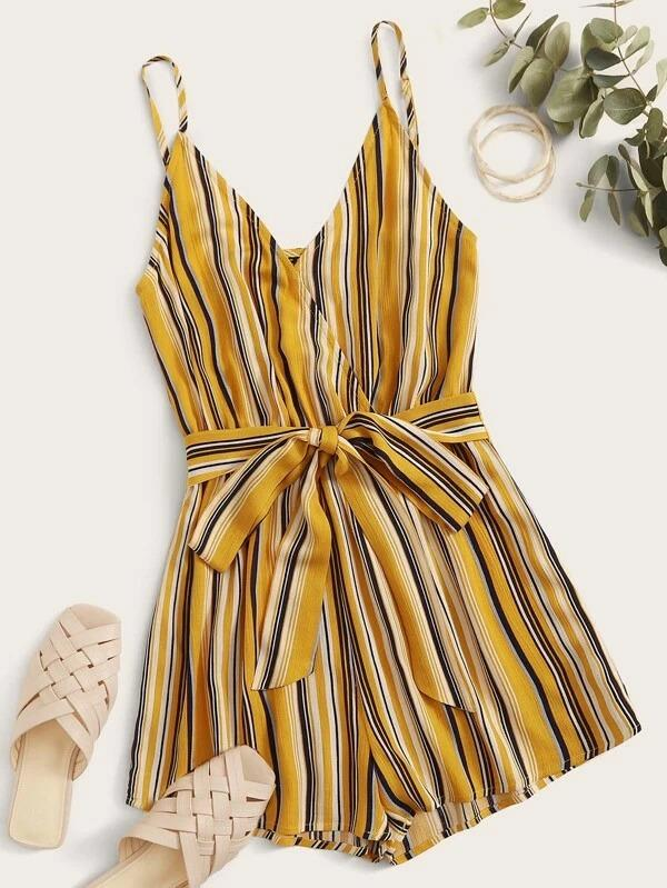 Surplice Wrap Belted Striped Romper
