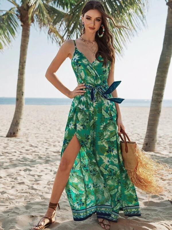 Surplice Wrap Belted Tropical Print Cami Jumpsuit