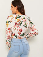 Surplice Wrap Knot Side Botanical Print Crop Top