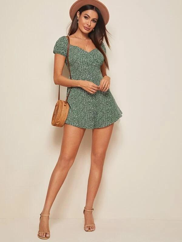 Sweetheart Neck Ditsy Floral Romper