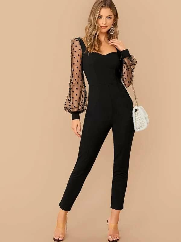 Sweetheart Neck Low Back Dobby Mesh Sleeve Jumpsuit