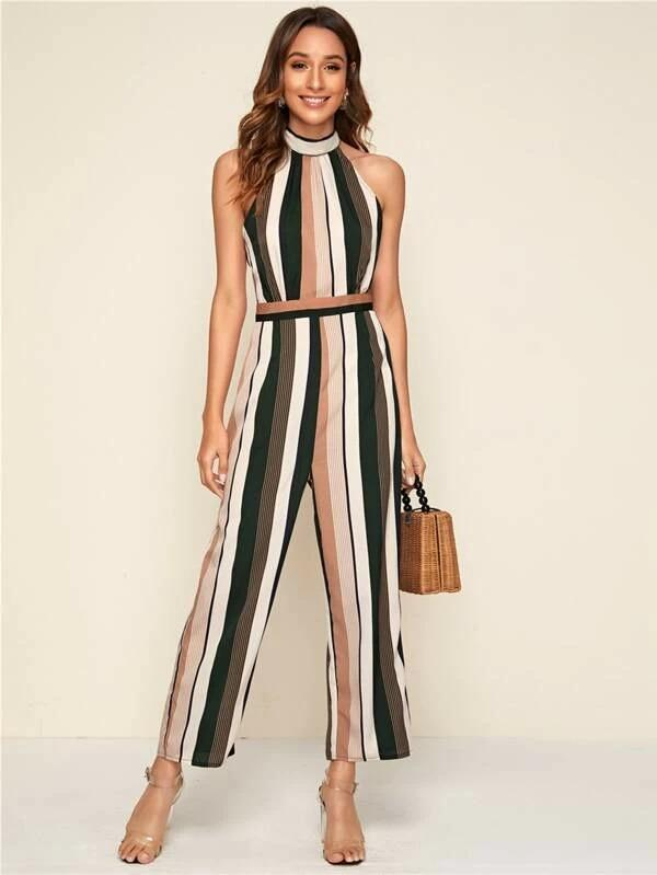 Tie Back Striped Halter Jumpsuit