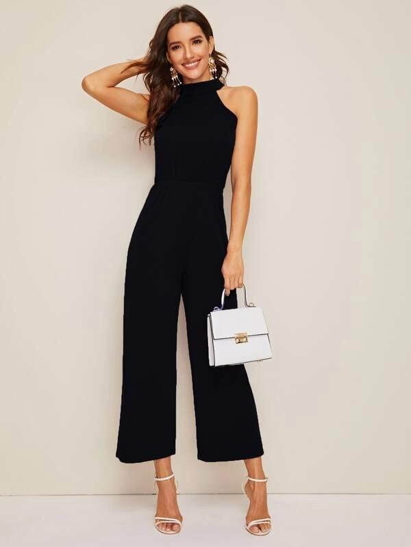 Tie Back Wide Leg Halter Jumpsuit