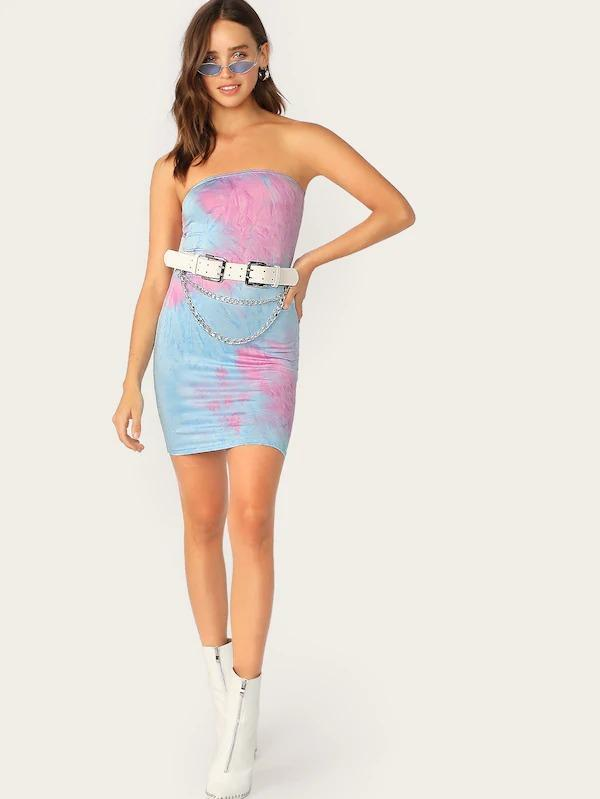 Tie Dye Tube Bodycon Dress