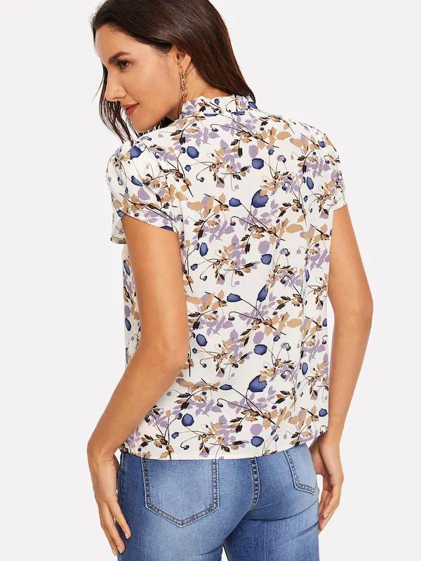 Tie Neck Petal Sleeve Frill Floral Top