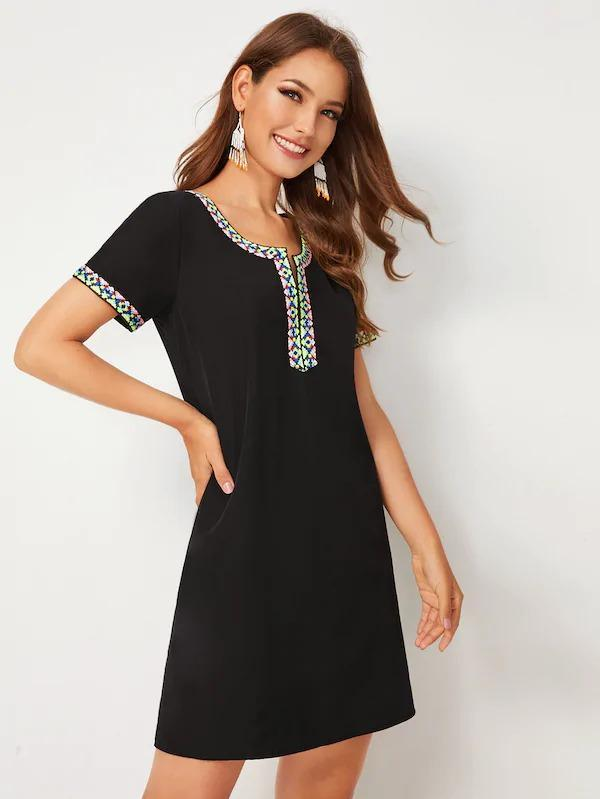 Tribal Tape Panel V-Neck Dress
