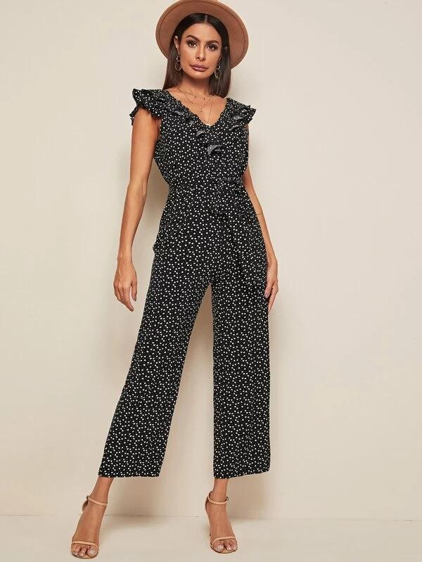 V-Back Ruffle Trim Self Belted Confetti Heart Print Jumpsuit