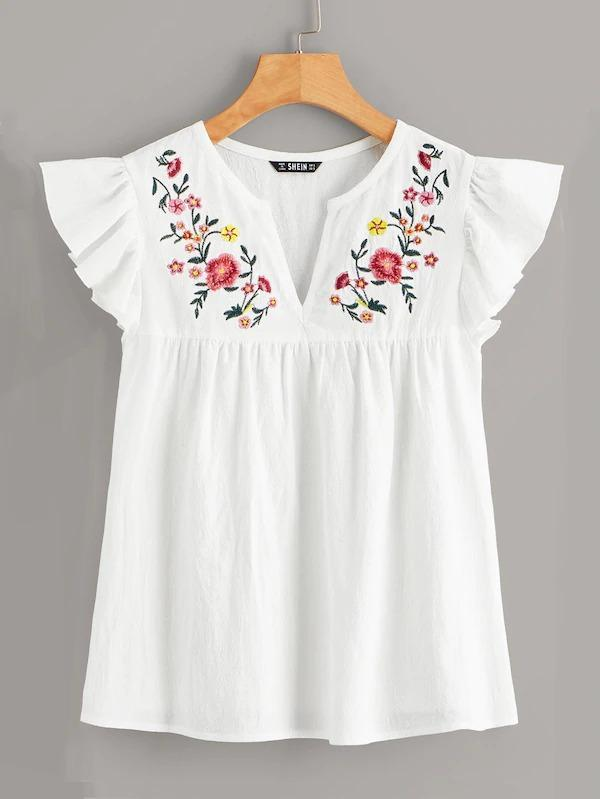 V-Cut Neck Embroidery Print Ruffle Armhole Top