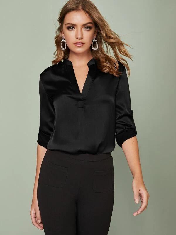 Women V-Neck Roll Up Sleeve Satin Blouse