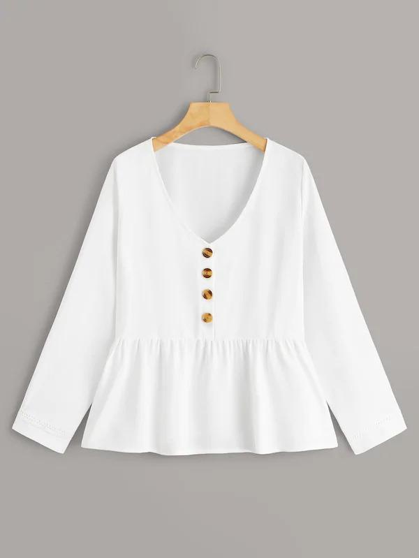 V-Neck Button Front Peplum Blouse