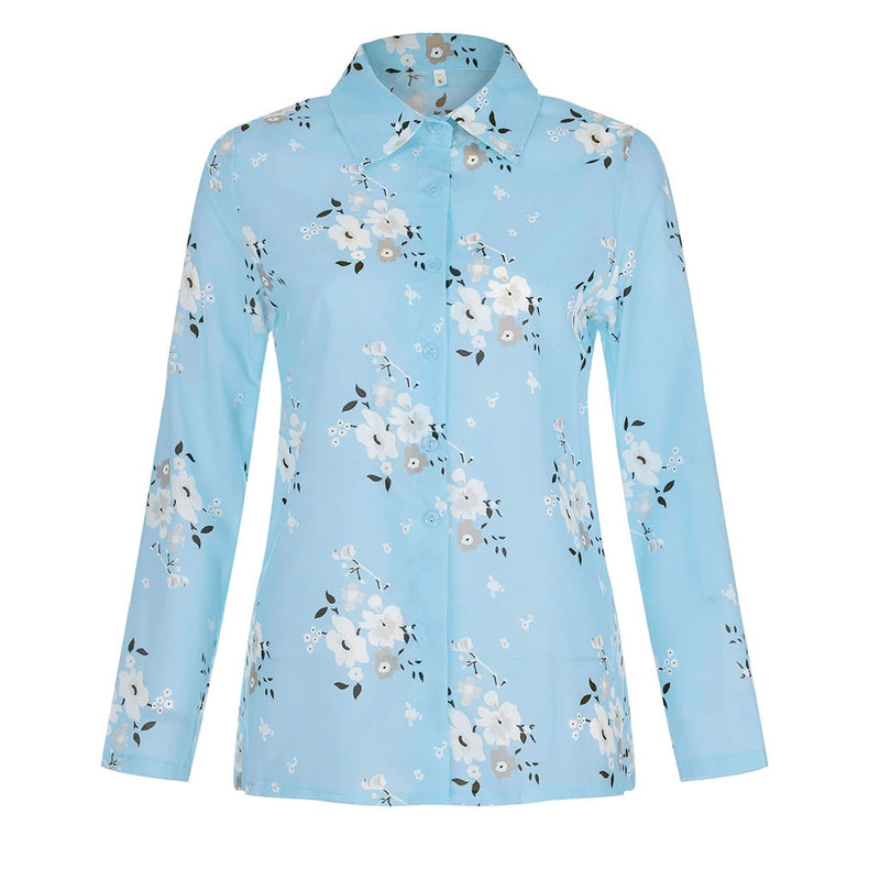 Women Floral Print Long Sleeve Turn Down Collar Blouse Shirts Plus Size