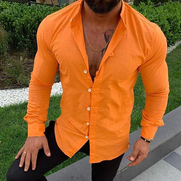 Men's Solid Color Buttoned Casual Shirts