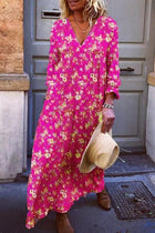 Holiday Floral Print V-neck 3/4 Sleeves Maxi Dress