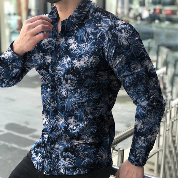 Men Casual Fashion Printed Long Sleeve Turndown Collar Shirts