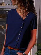 Casual V-neck Buttons Blouses&shirt Top