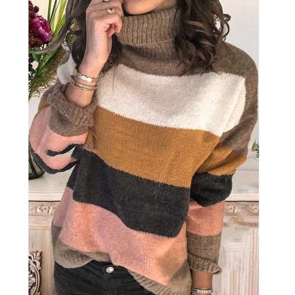 Elegant High Neck Striped Sweaters