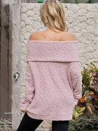 Plain One-shoulder Collar Velet Sweater