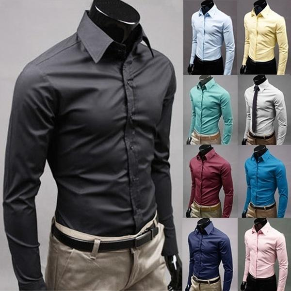 Men Fashion Long Sleeve Sim Fit Solid Color Business Shirt