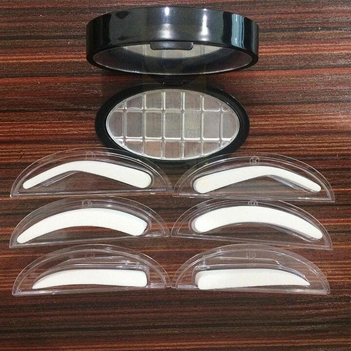 1Pair Sponge Lazy Quick Makeup Eyebrow Stamp With Handle