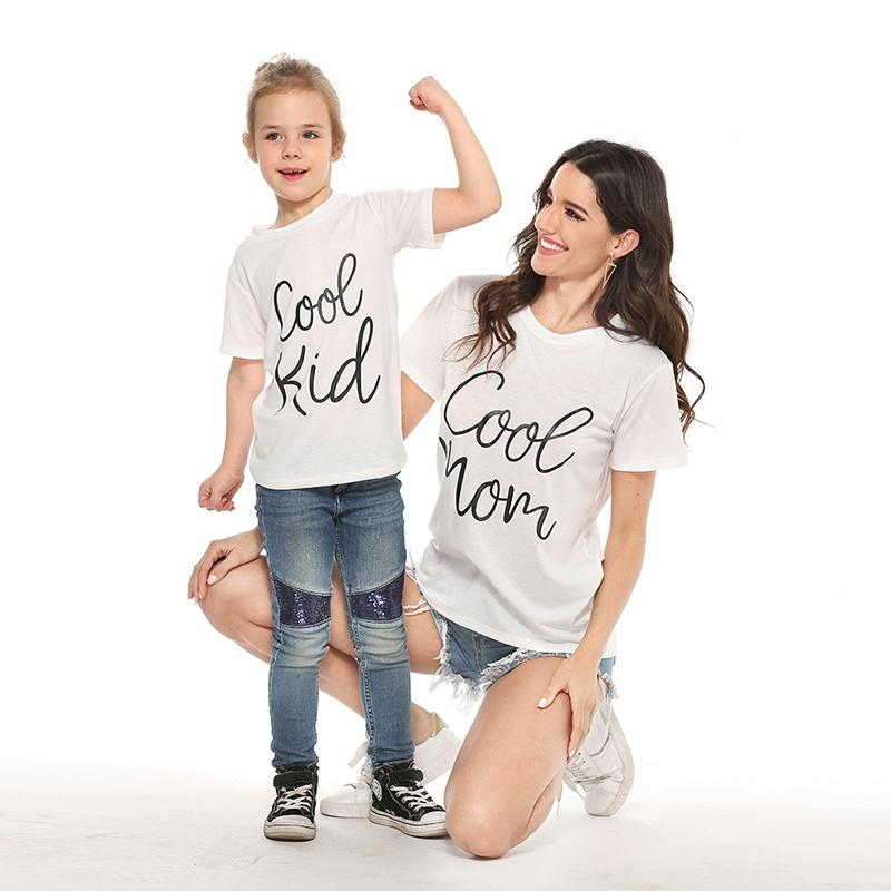 Mommy and Me Round collar Letter White Short Sleeve Matching Tops